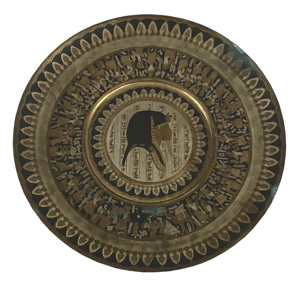 Prato Decorativo Egito Em Metal Farao