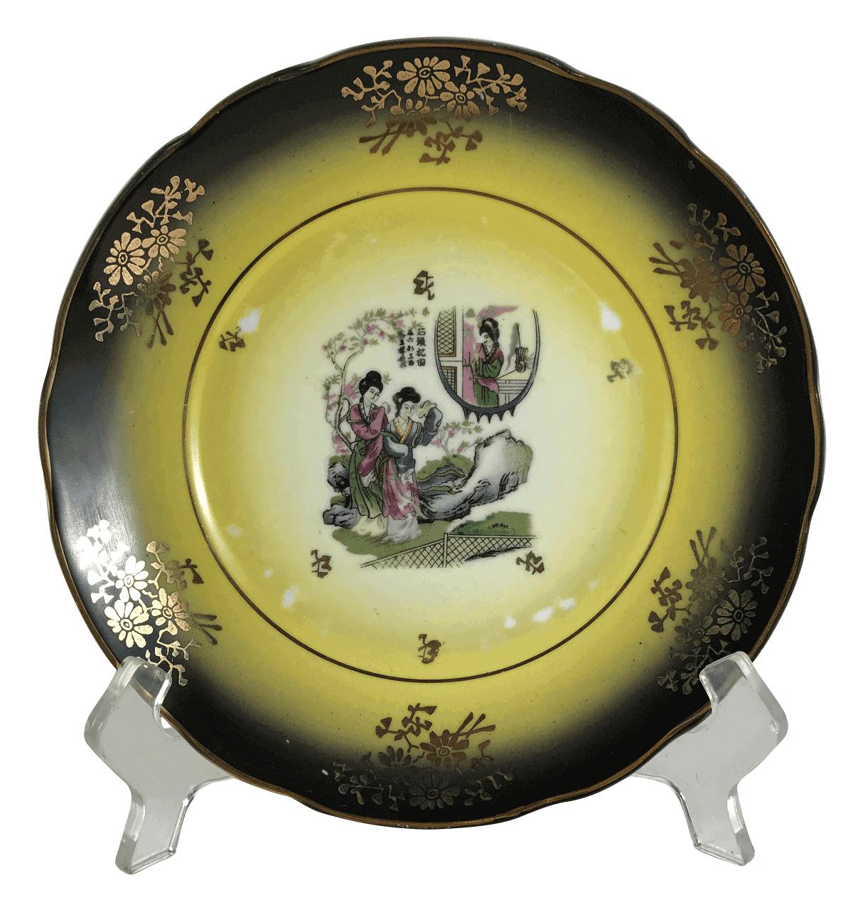 Prato Sobremesa Em Porcelana Antiga Decoraçao Gueixas