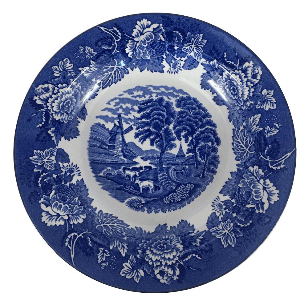 Prato Fundo Antigo Porcelana Inglesa Fazendinha 23cm