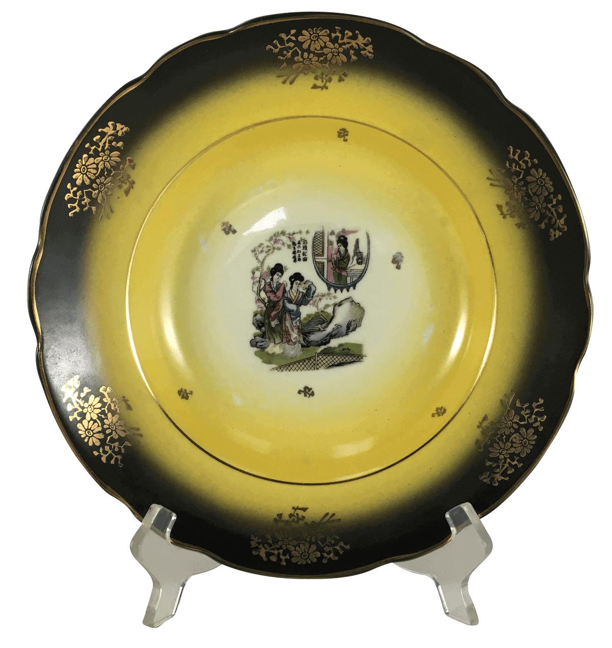 Prato Fundo Em Porcelana Antiga Decoraçao Gueixas