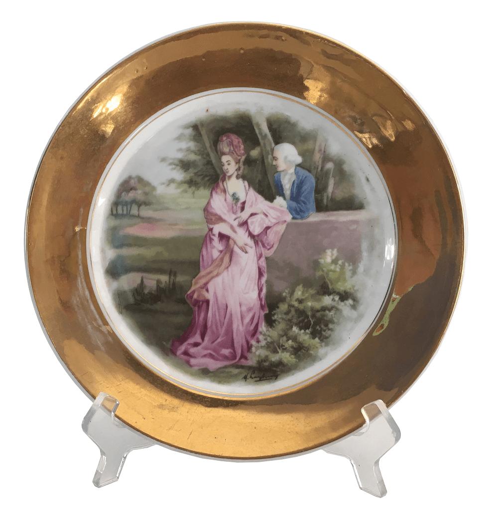 Prato Jantar Antigo Em Porcelana Borda Em Ouro