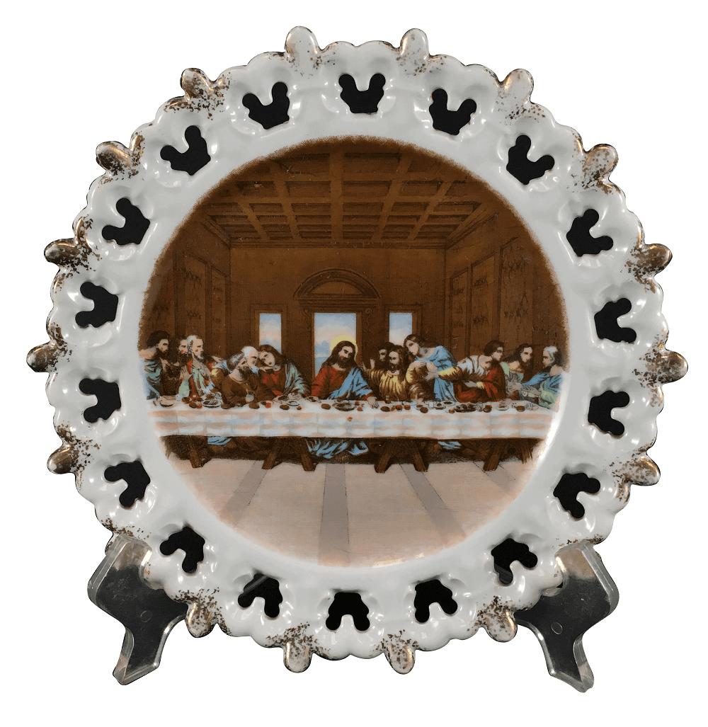 Prato Porcelana Antiga Santa Ceia Borda Fenestrada