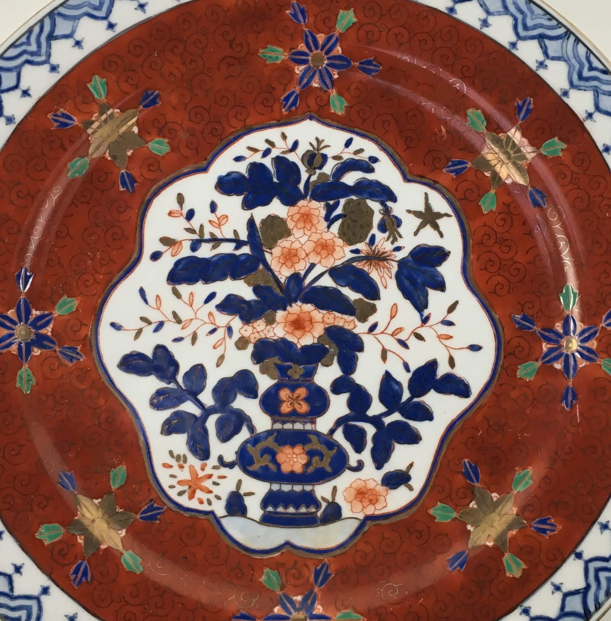 Prato Raso Decorativo Porcelana Chinesa Policromado