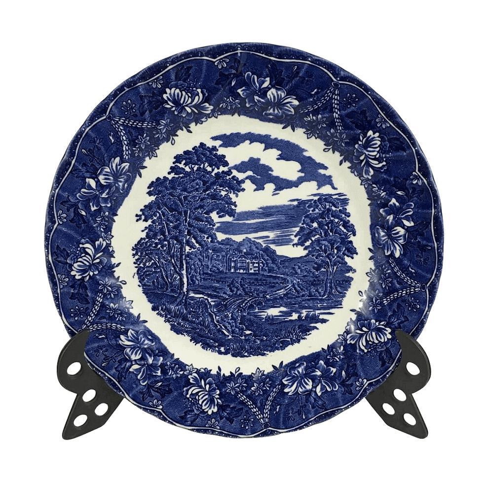 Prato Raso Porcelana Inglesa Azul E Branco