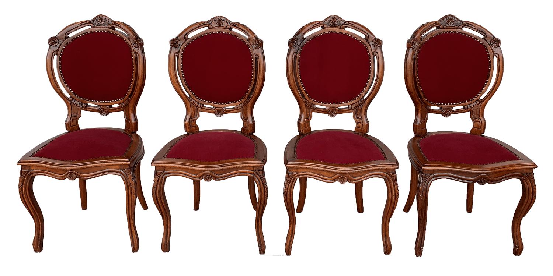 Quatro Cadeiras Medalhao Duplo Antiga Cerejeira