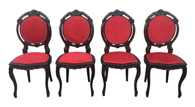 Quatro Cadeiras Medalhao Duplo Jacaranda Veludo Perfeitas