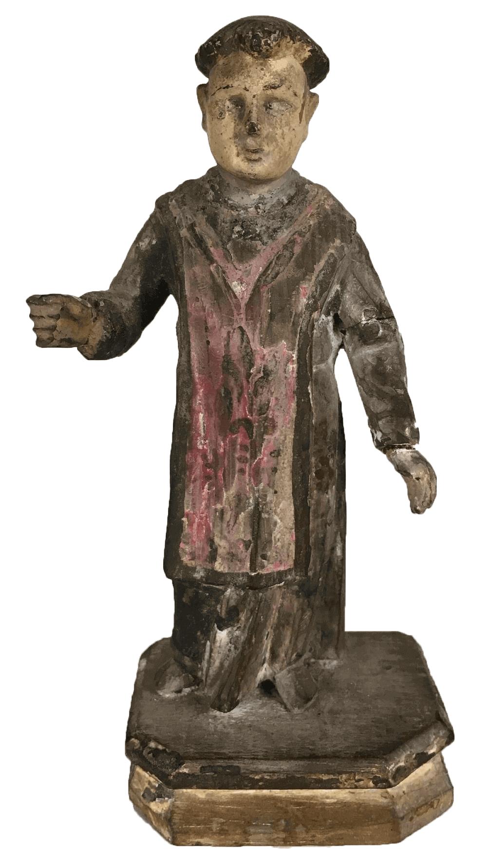 Santo Antigo Em Madeira Arte Sacra 14cm Altura