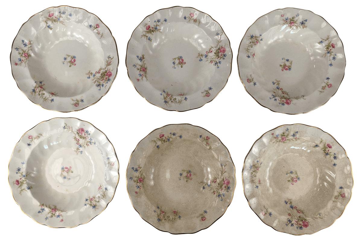 Seis Pratos Fundo Porcelana Antiga Inglesa Johson Bros
