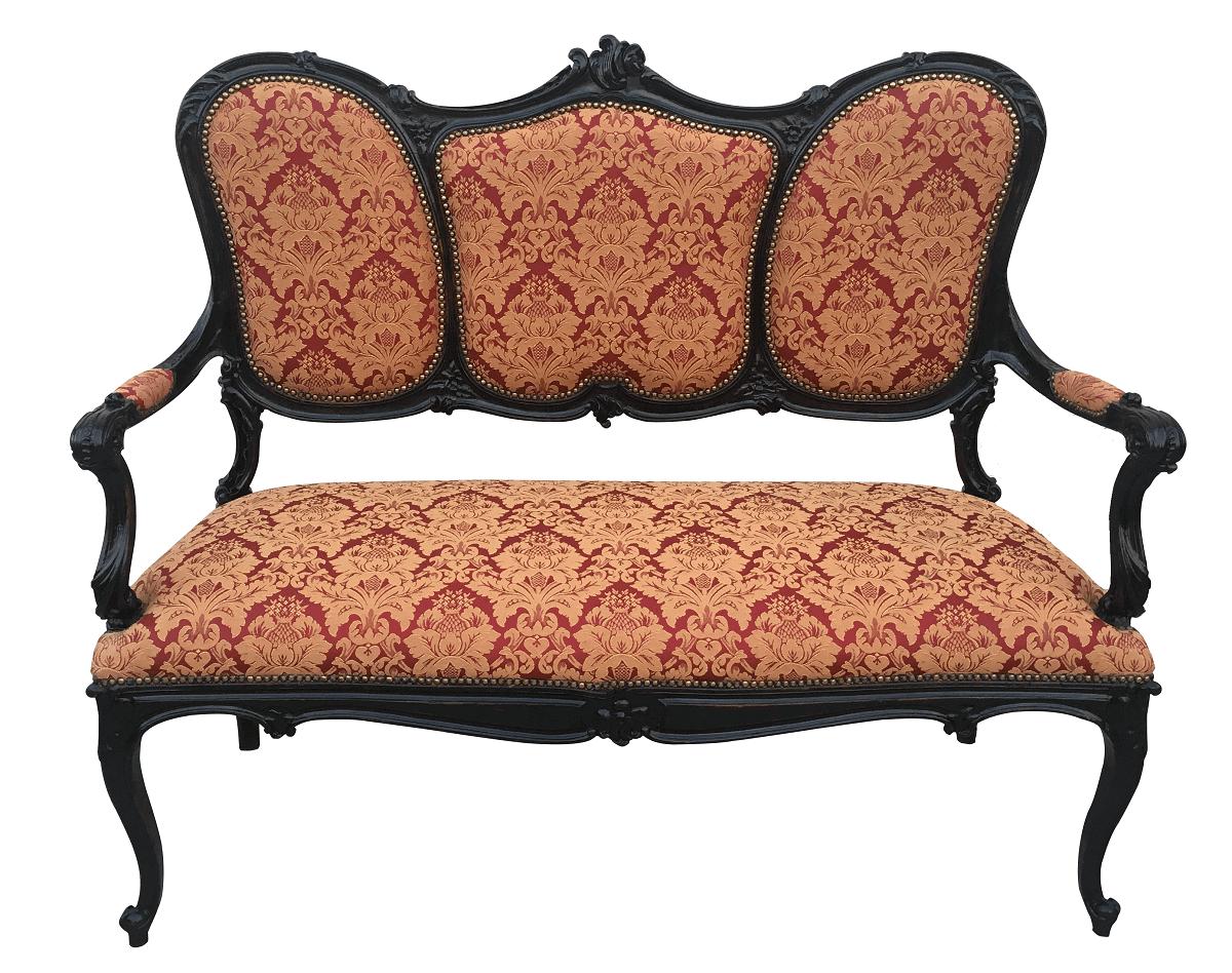 Sofa Antigo Luis Xv Madeira Nobre Tecido Florido