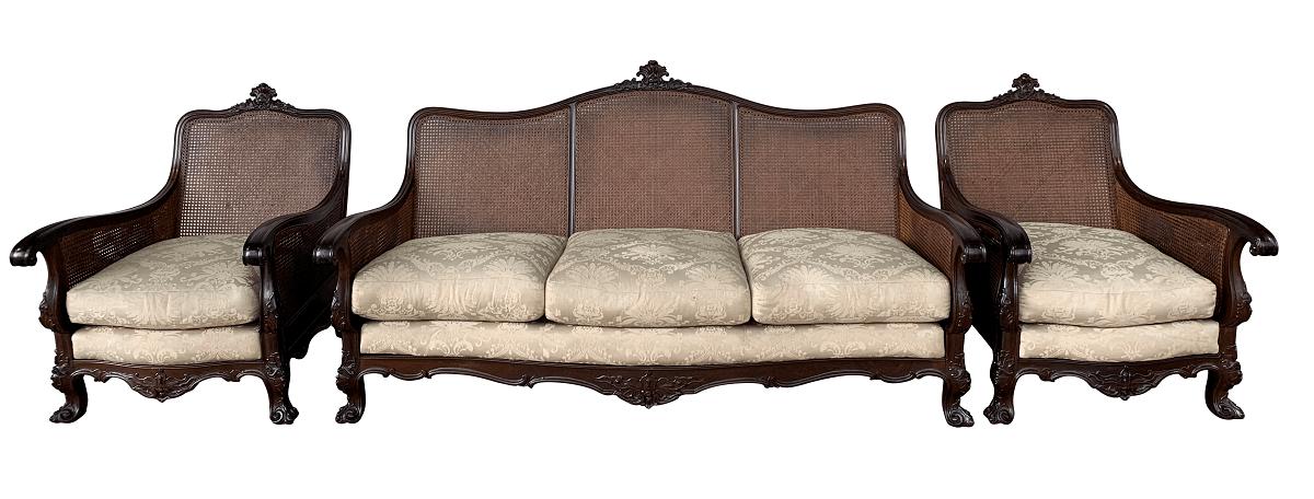 Sofa E Poltrona Antiga Dom Jose Jacaranda E Palhinha
