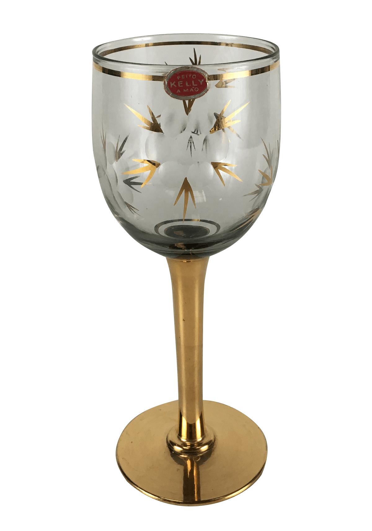 Taça Antiga Cristal Lapidado Base Ouro