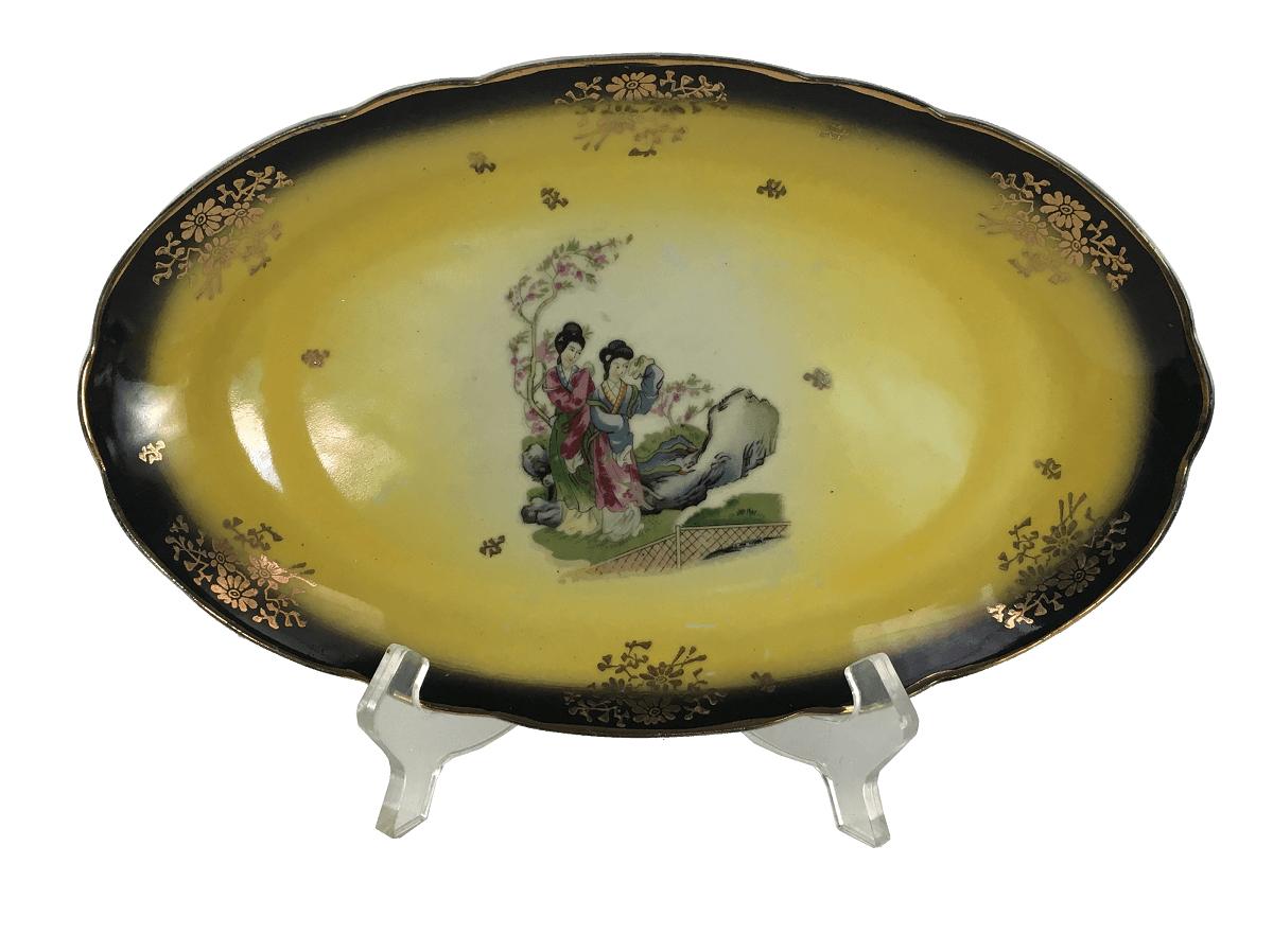 Travessa Porcelana Antiga Decoraçao Gueixas