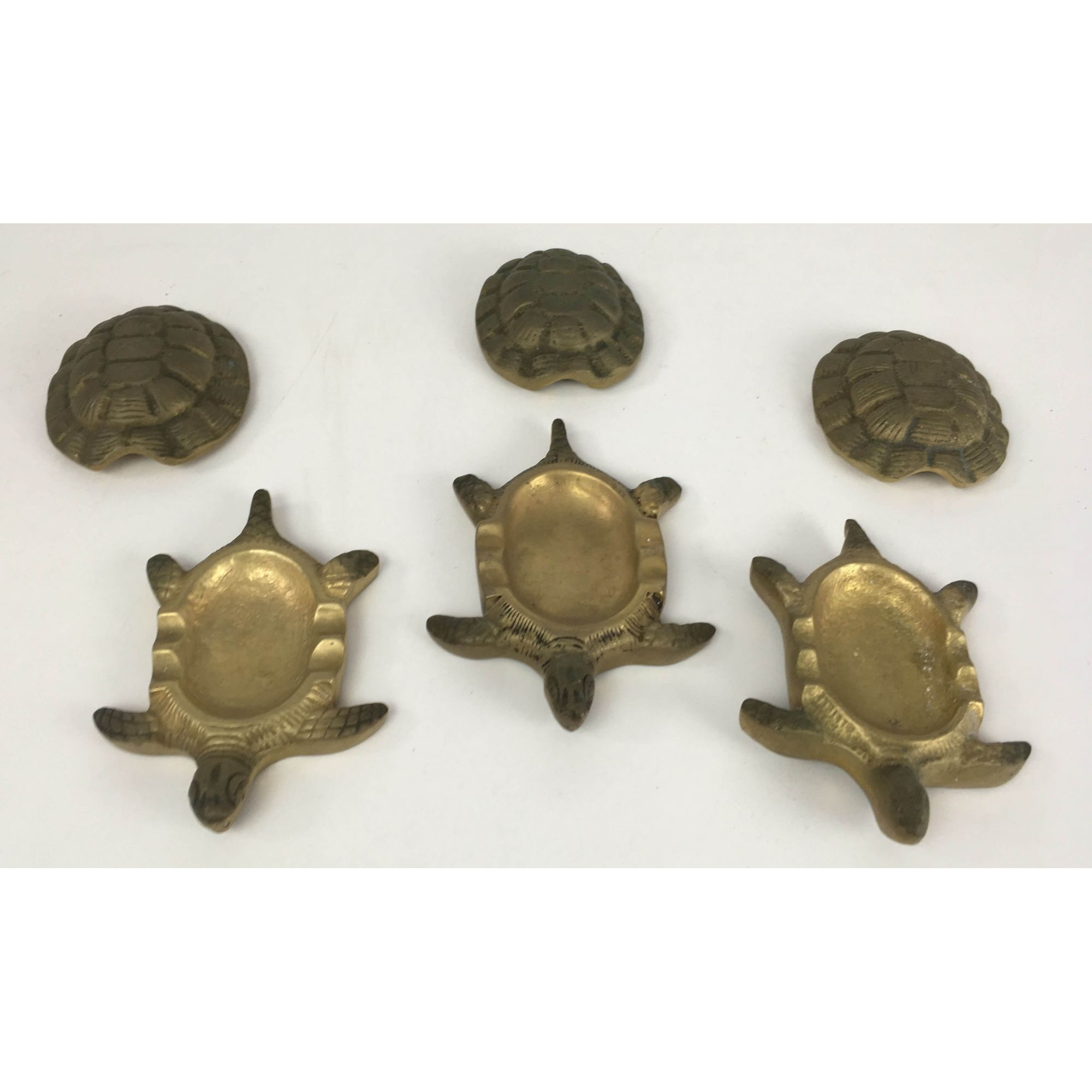 Tres Esculturas Bronze Antigo Tartarugas Cinzeiro
