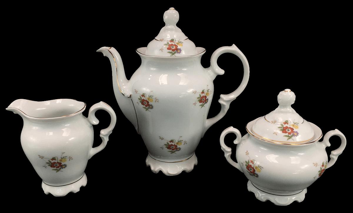 Trio Bule Leiteira E Açucareiro Em Porcelana Antiga Schmidt