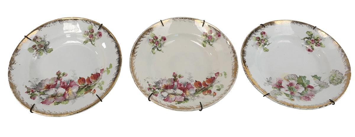 Trio De Pratinhos Sobremesa Porcelana Francesa