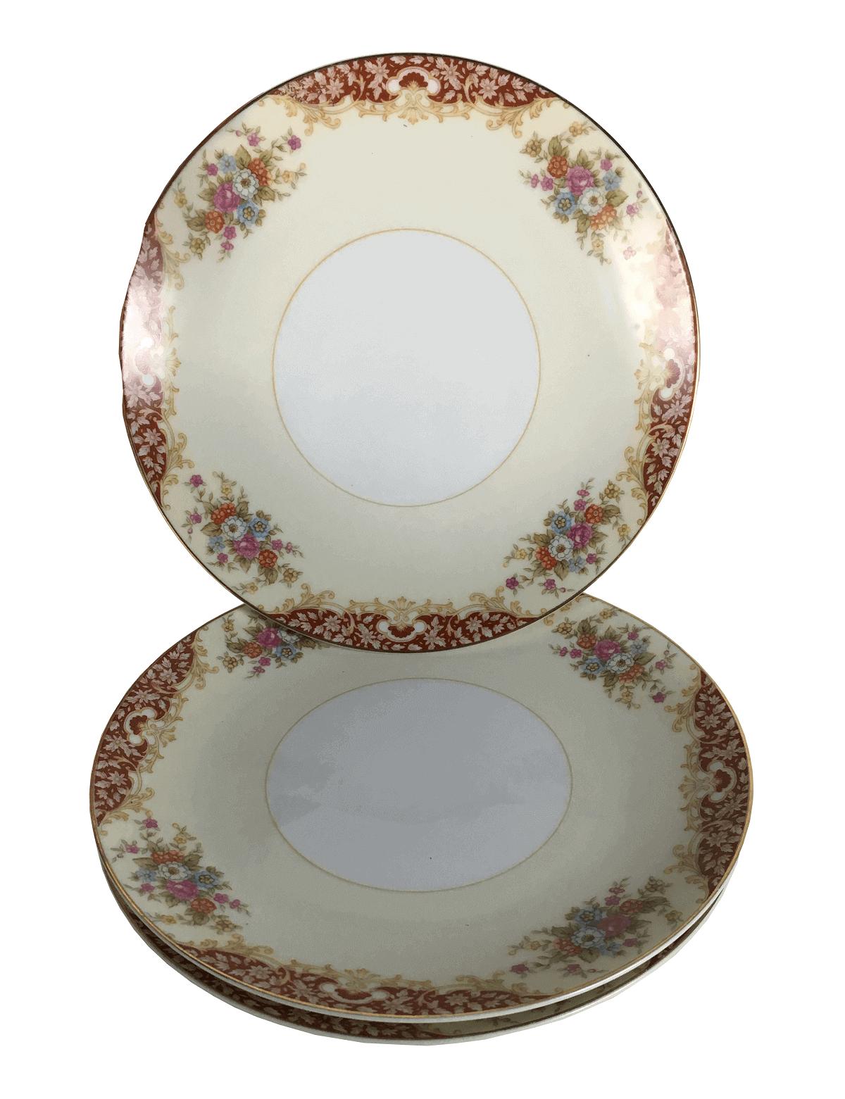 Trio De Prato Antigo Porcelana Noritake 18cm