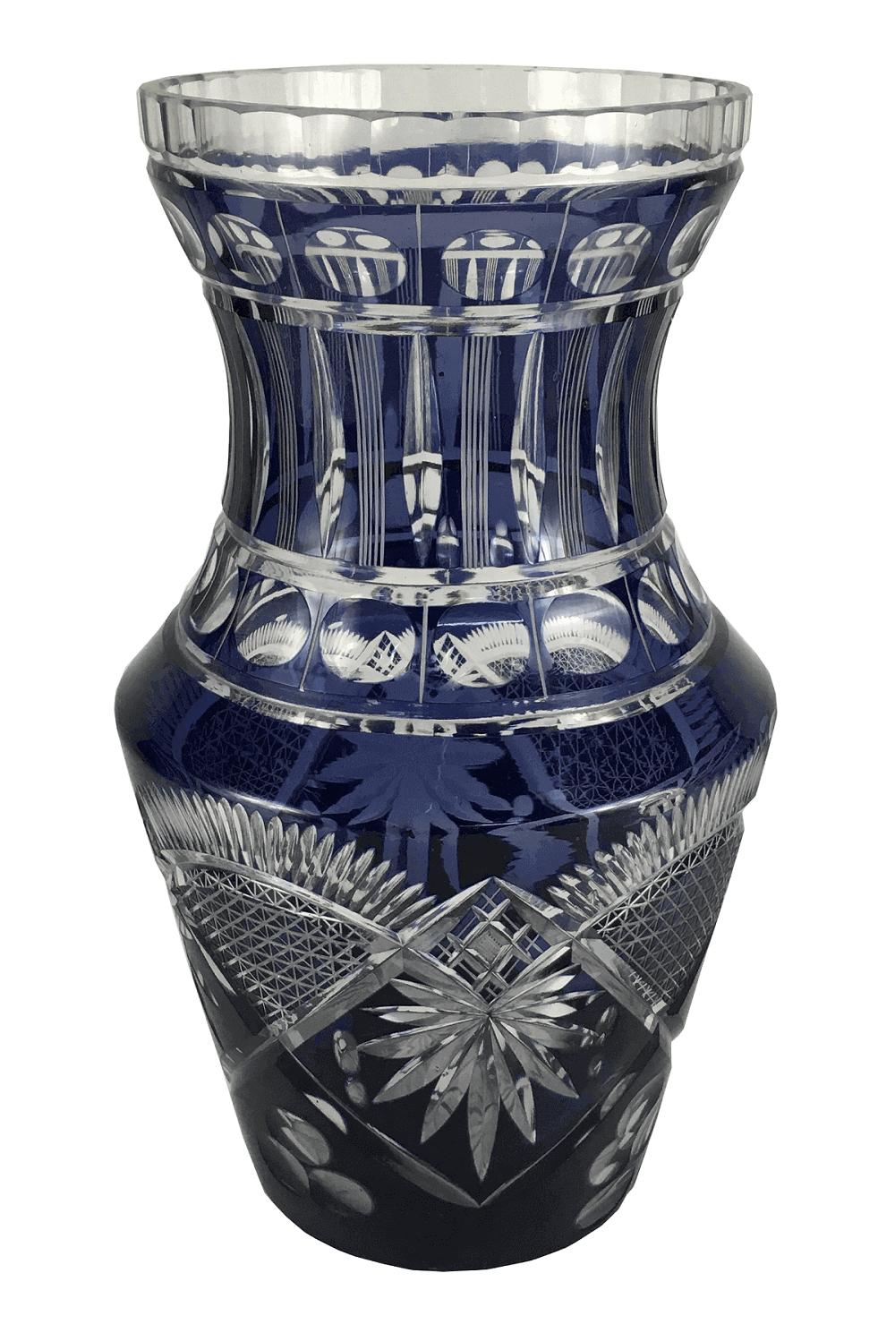 Vaso Antigo Cristal Europeu Roxo Bela Lapidação