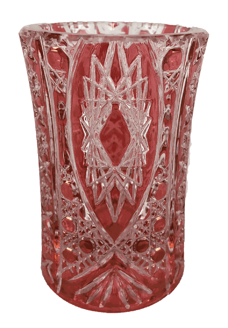Vaso Antigo Cristal Rosa Pequeno