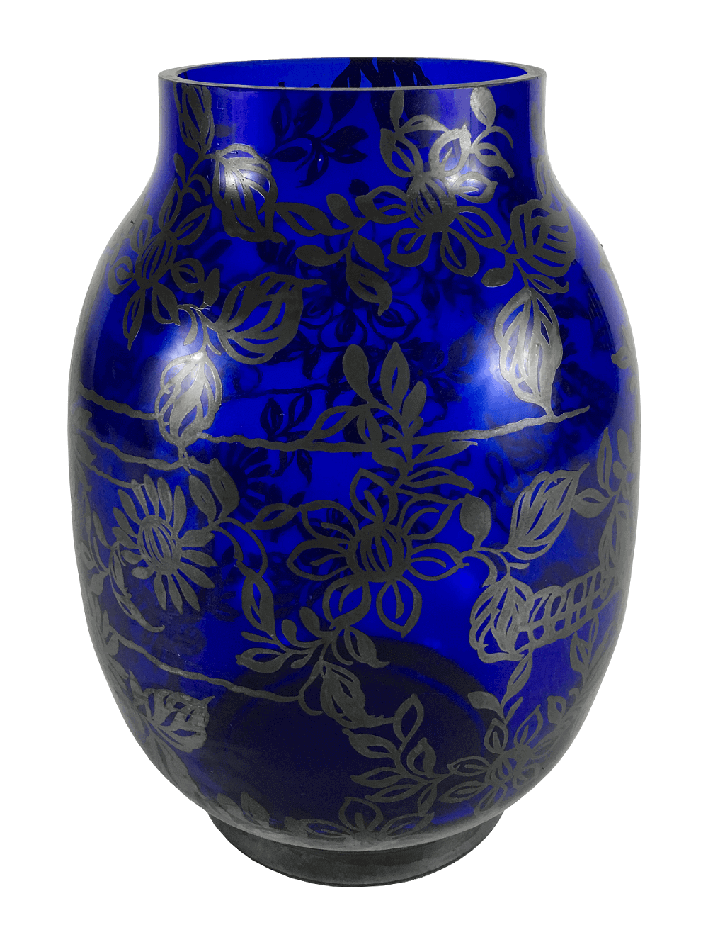 Vaso Antigo De Vidro Azul Pintura Prata