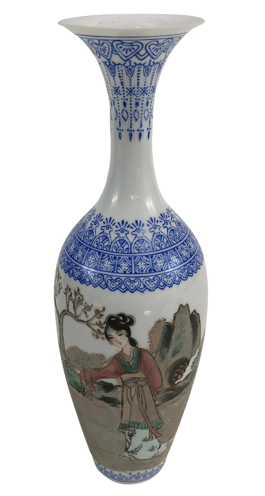 Vaso Antigo Em Porcelana Oriental Gueixa