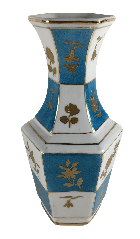 Vaso Antigo Porcelana Pintura Em Ouro Feito A Mao