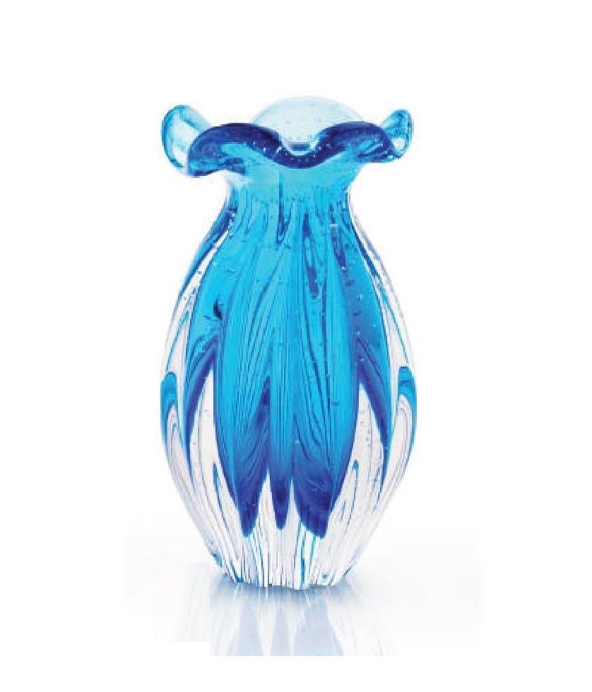 Vaso Cristal Murano Sao Marcos Trouxinha Azul