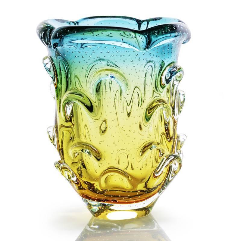 Vaso De Murano Cristal Sao Marcos Verde E Ambar Com Bolhas
