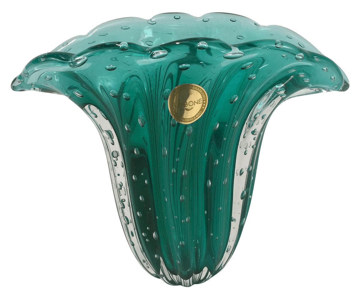 Vaso De Murano Leque Esmeralda Com Bolhas