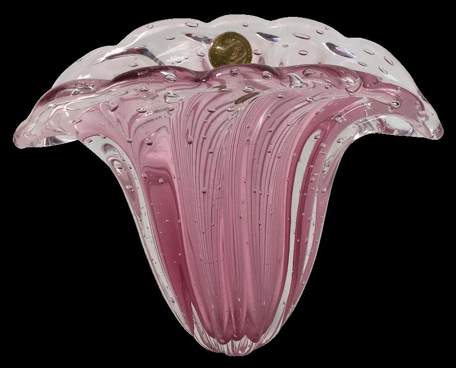 Vaso De Murano Leque Rosa Com Bolhas
