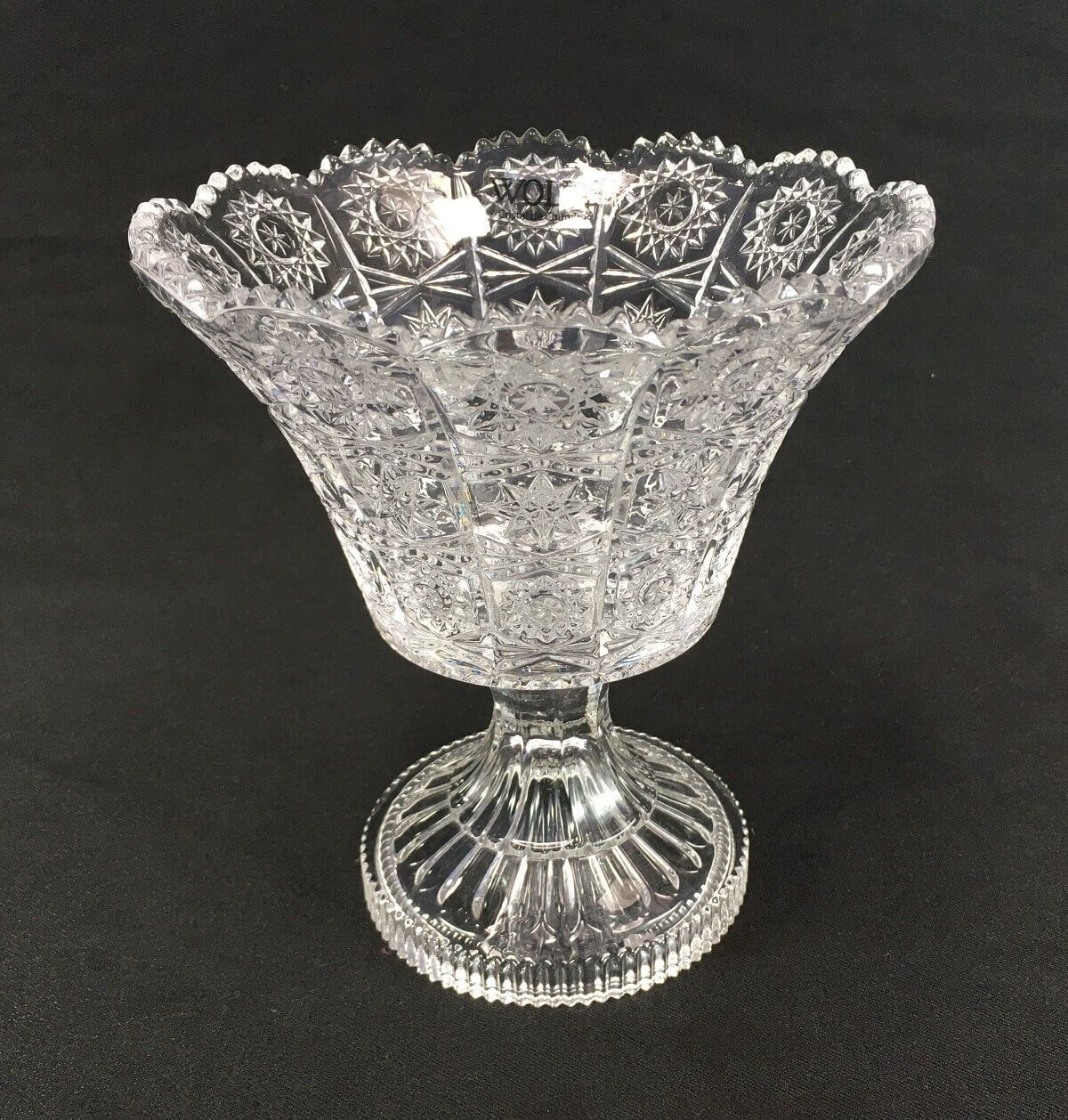 Vaso Em Cristal Lapidado Wolff 19cm Altura