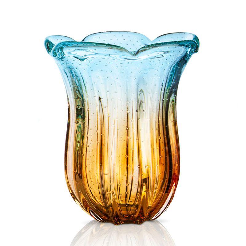 Vaso em cristal murano sao marcos azul e ambar grande imp rio dos antigos - Vasos grandes cristal ...