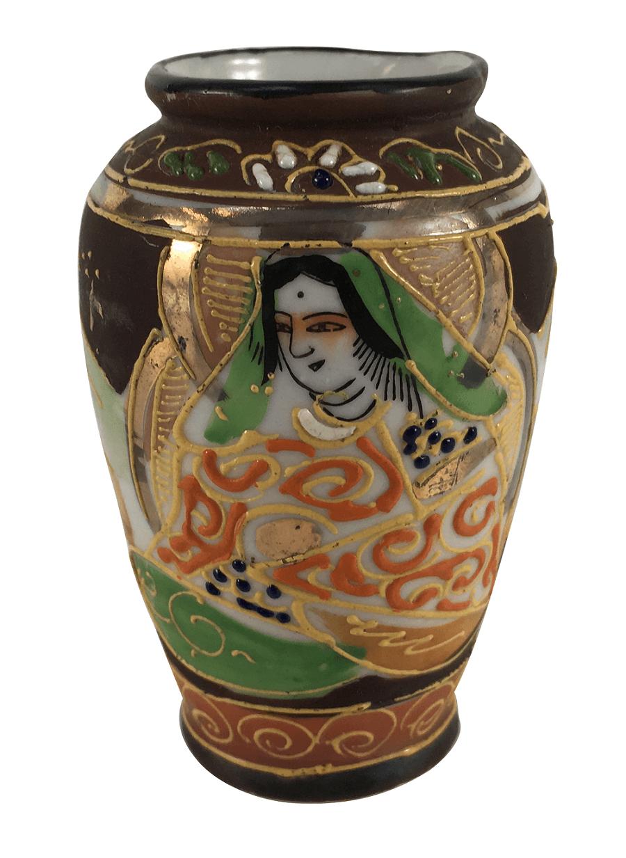 Vaso Miniatura Em Porcelana Japonesa Satsuma