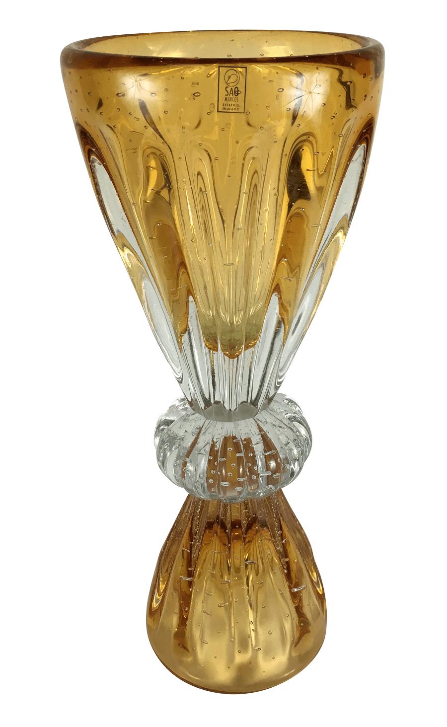 Vaso Murano Cristal Sao Marcos Ambar 45cm Altura