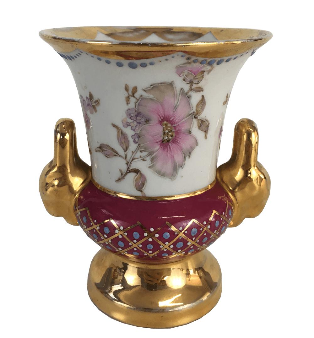 Vaso Porcelana Antiga Limoges Rosa E Ouro Assinado