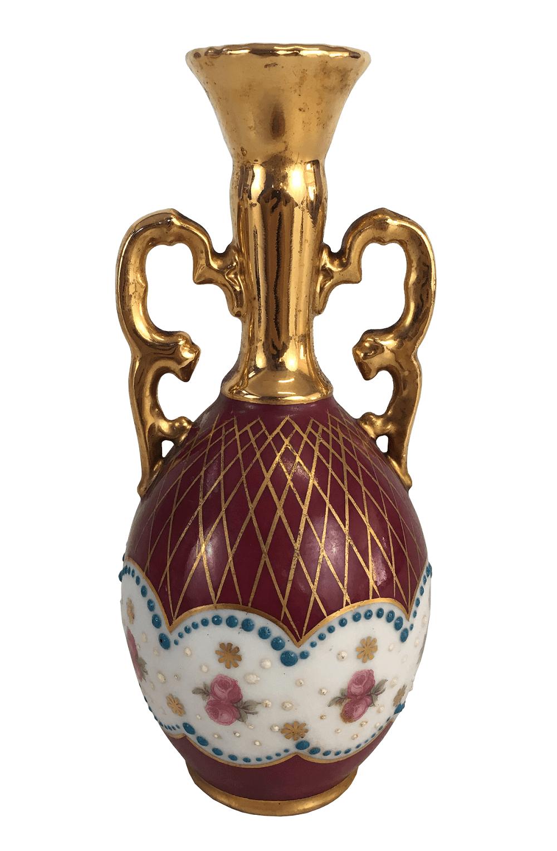 Vaso Soliflor Porcelana Antiga Limoges Rosa E Ouro Assinado
