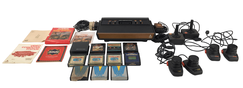 Videogame Antigo Atari Wood 2600 Com Varios Acessorios