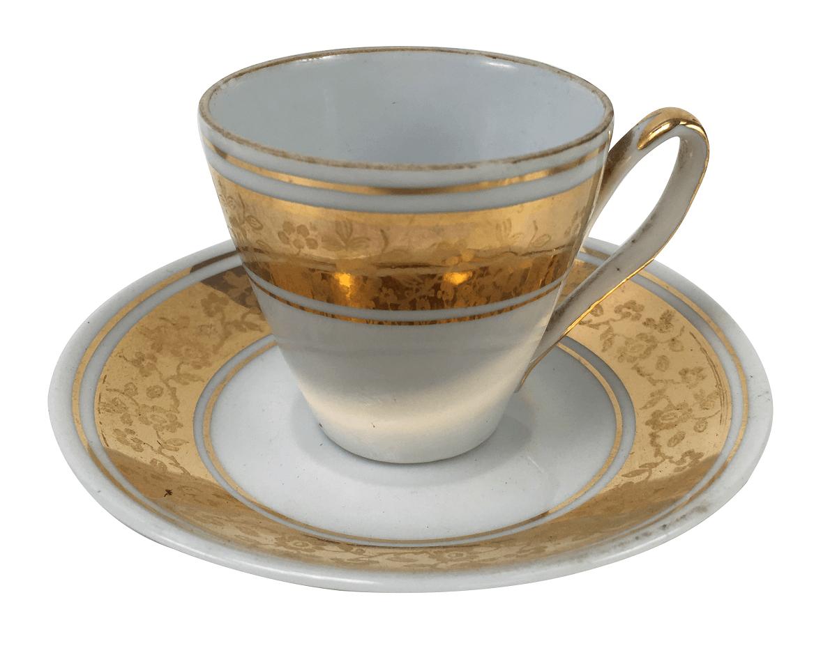 Xicara De Café Antiga Em Porcelana Schmidt Detalhe Ouro