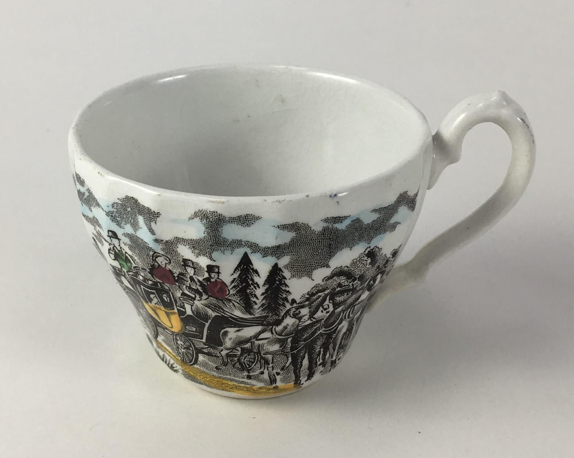 Xicara De Cafe Antiga Porcelana Inglesa Fazendinha Sem Pires