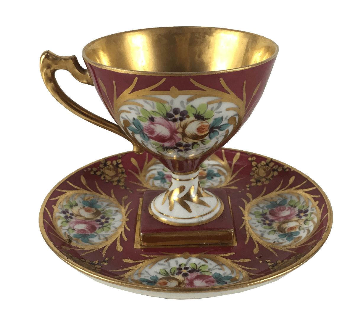 Xicara De Cafe Antiga Porcelana Limoges Pintura Sevres
