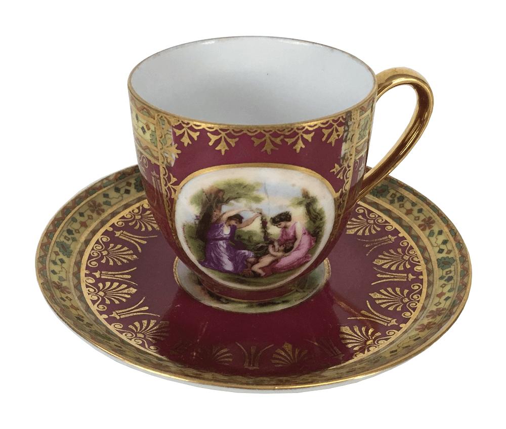 Xicara De Cafe Porcelana Antiga Tcheca Epiag Rosa Ouro