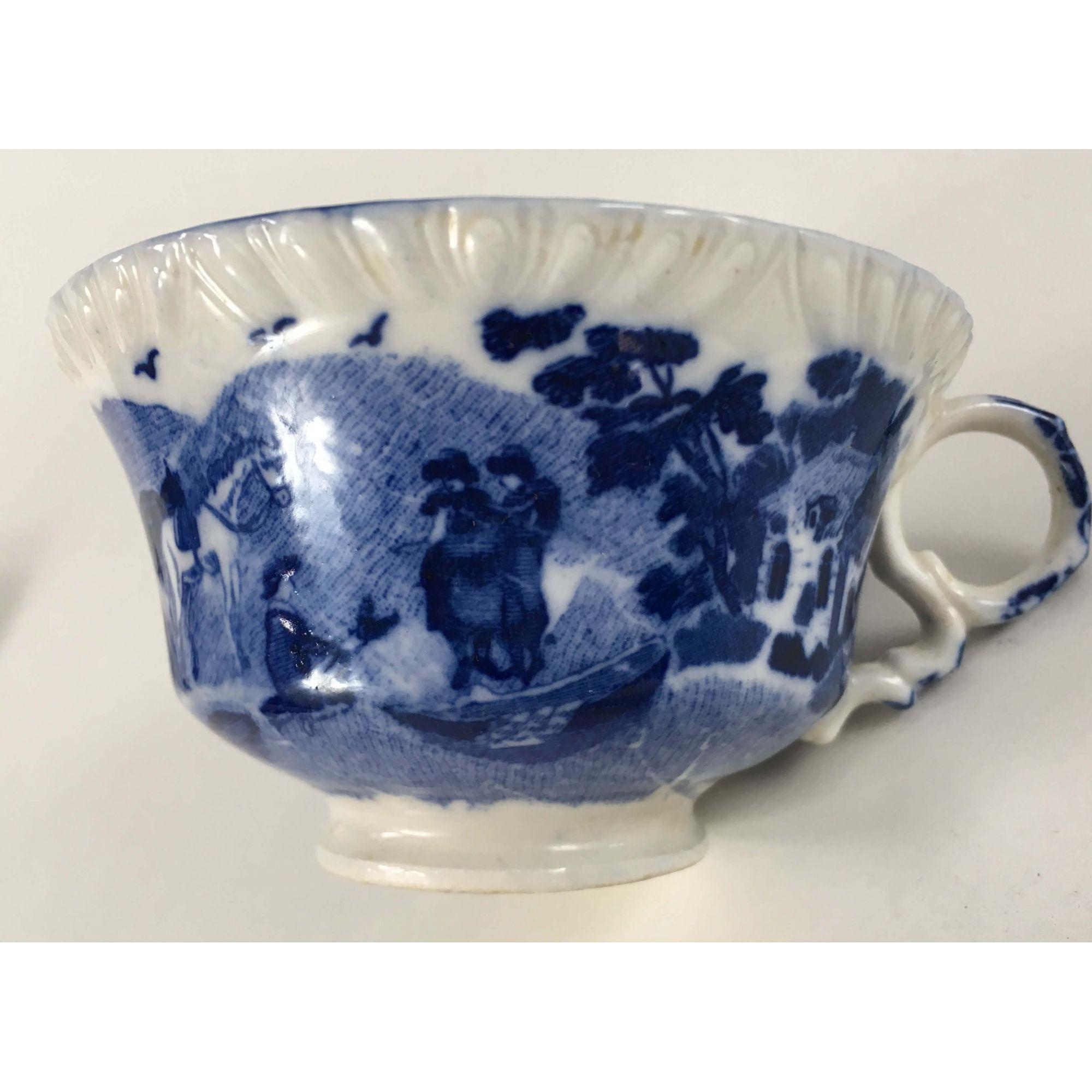 Xicara De Cha Porcelana Antiga Inglesa Fazendinha Sem Carimbo