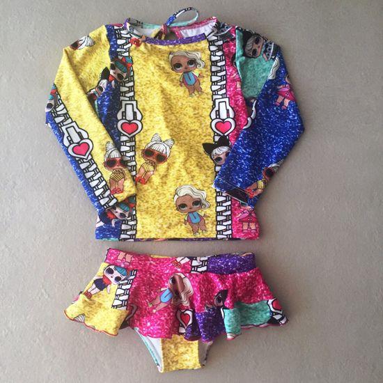 Biquini Infantil Camiseta Manga Longa Boneca Surpresa