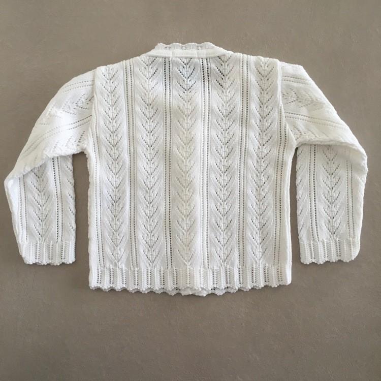 Blusa Infantil Feminina em Tricot Cardigan com Rendado Italiano Branca