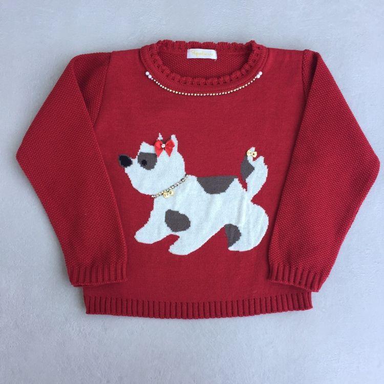 Blusa Infantil Feminina em Tricot com Estampa de Cachorrinha
