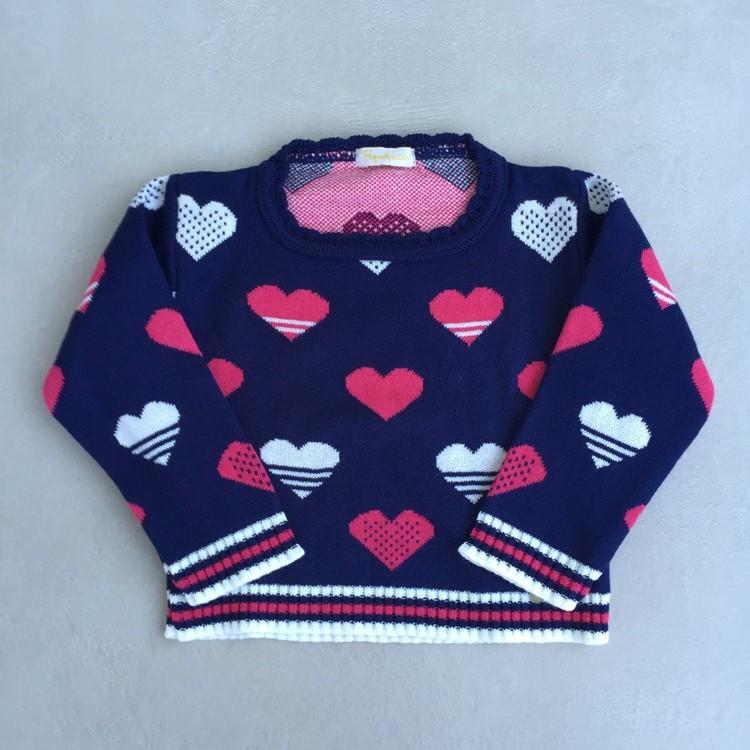 Blusa Infantil Feminina Em Tricot Corações