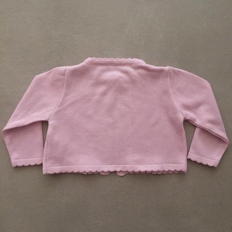 Bolero Infantil de Linha Rosa com Flores