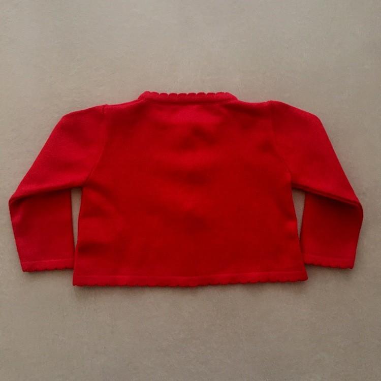 Bolero Infantil de Linha Vermelho com Pérolas