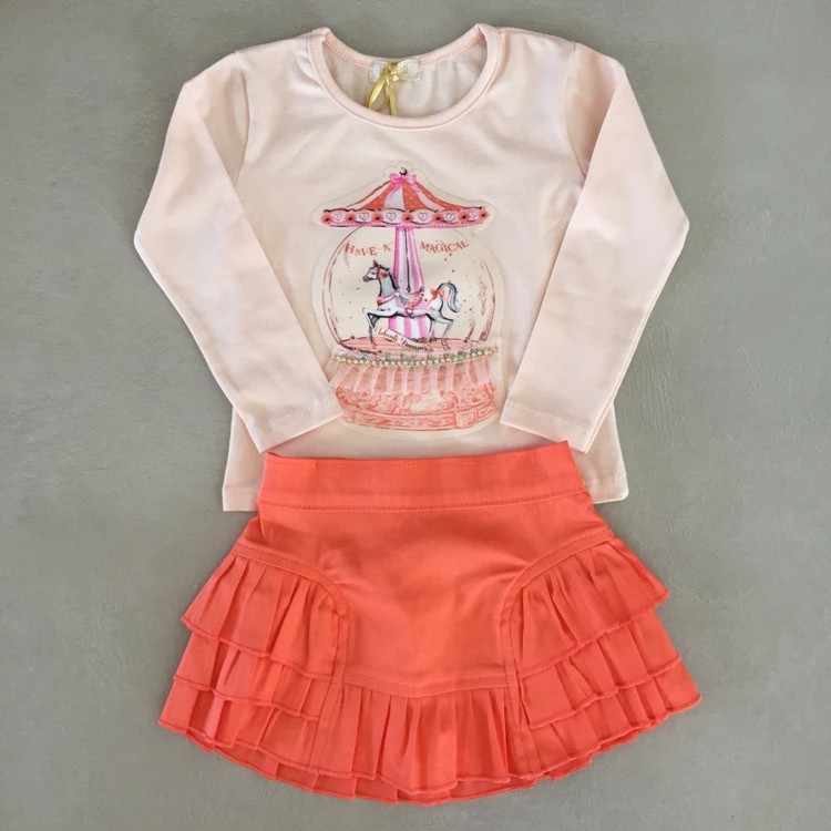 Conjunto Infantil Blusa e Saia Coral Carrossel Infanti