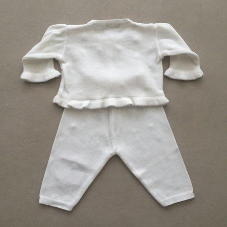 Conjunto Infantil em Tricot com Calça e Casaco de Babados e Pérolas