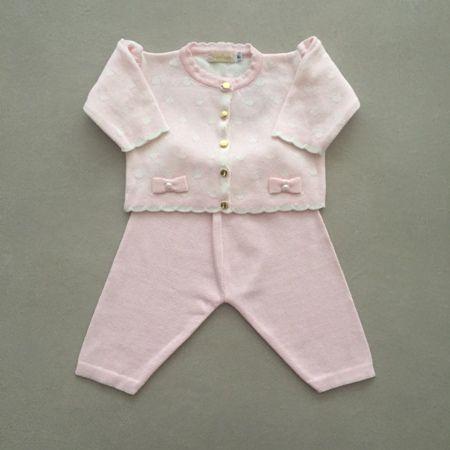 Conjunto Infantil em Tricot Rosa com Casaco Poá e Calça